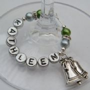 Christmas Bells Personalised Wine Glass Charm - Elegance Style